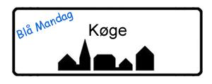 Blå Mandag Køge, byskilt