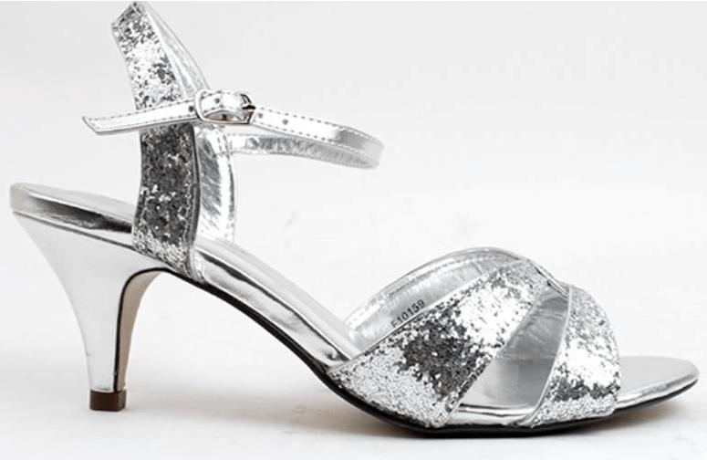 Høje sandaler i sølv